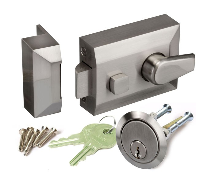 Astounding Night Latch Lock For Front Doors In Brushed Chrome Handle Interior Design Ideas Ghosoteloinfo