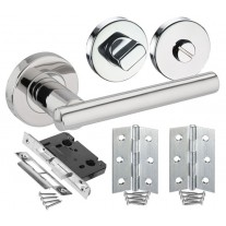 Bathroom Door Handle Pack with Polished Stainless Steel T Bar Lever