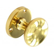 Interior Door Knobs with 52mm Polished Brass Knob on Rose