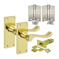 Brass Door Handle Sets with Victorian Scroll Levers on Backplate