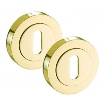 Brass Escutcheon Pair with Gold Polished Brass Finish