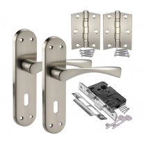 Chrome Door Handles Pack with Lock and Elliptical Lever