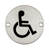 Disabled Toilet Sign for Toilet Doors with Brushed Stainless Steel Finish