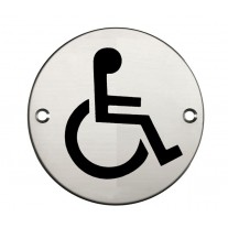 Disabled Toilet Sign for Toilet Doors with Polished Stainless Steel Finish