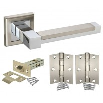 Door Handle Packs with Cubed Levers on Square Rose