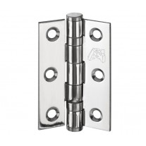 Door Hinges for Internal Doors - 3 Inch / 75mm Ball Bearing Polished Stainless Steel Hinges