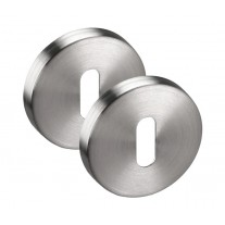Escutcheon Plate Pair in Brushed Stainless Steel - Standard Keyhole Profile 52mm