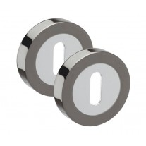 Escutcheon Plate Pair in Dual Black Nickel and Standard Keyhole Profile 50mm