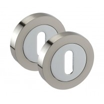 Escutcheon Plate Pair in Dual Chrome and Standard Keyhole Profile 50mm