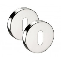 Escutcheon Plate Pair with Polished Stainless Steel Finish and Standard Keyhole Profile 52mm