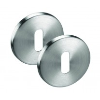 Escutcheon Pair in Brushed Stainless Steel - Standard Keyhole Profile 52mm