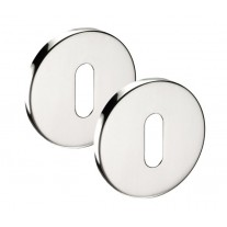 Escutcheons Pair with Polished Stainless Steel Finish and Standard Keyhole Profile 52mm