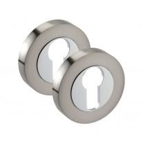 Euro Lock Escutcheon Pair with Dual Chrome Finish