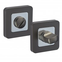 Square Bathroom Lock Thumb Turn & Release with Duo Black Finish F9010DBL