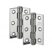 Interior Door Hinges Butt Pair in Polished Stainless Steel