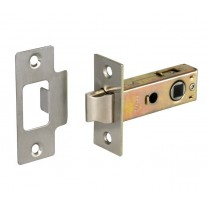 Mortice Door Latches in Brushed Chrome - 76mm Overall / 57mm Backset