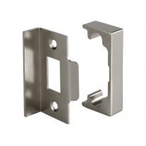 Mortice Latch Rebate Kit for Double Doors with Brushed Chrome Finish