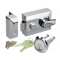 Night Latch Door Latch Lock in Polished Chrome