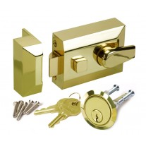Night Latch Front Door Lock with Polished Brass Finish