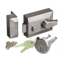Night Latch Lock for Front Doors in Brushed Chrome