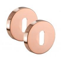 Polished Copper Keyhole Escutcheons Pair with Standard Keyhole Profile 52mm