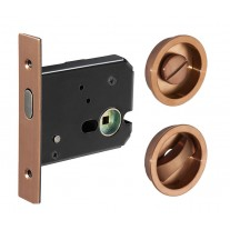 Sliding Pocket Door Lock It in Copper Finish X89001CU