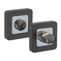 Square Bathroom Lock Thumb Turn & Release with Duo Black Finish