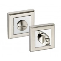 Square Bathroom Turn Lock & Release with Dual Chrome Finish 52mm