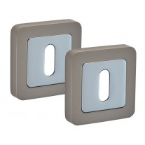 Square Escutcheon Pair with Duo Satin Chrome Finish