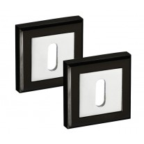 Square Escutcheon Plate Pair in Dual Black and Chrome Standard Keyhole Profile 52mm