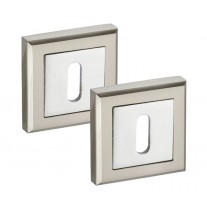 Square Escutcheon Plate Pair in Dual Chrome and Standard Keyhole Profile 52mm