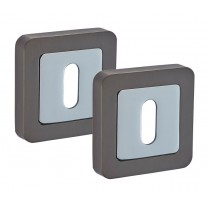 Square Keyhole Escutcheon Pair with Duo Black Finish