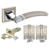 Square Rose Door Handle Sets with Dual Finish