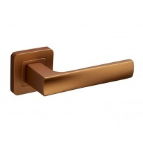 Square Rose Door Handles with Satin Brass Finish