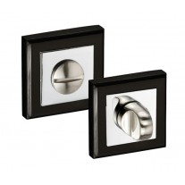 Square Thumb Turn Lock for Bathroom Door Locks in Dual Black and Chrome 52mm